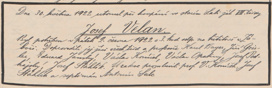Zápis o smrt žáka Velana.