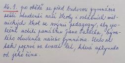 Zápis o prvním oficiálním uctění památky Jana Palacha školou.