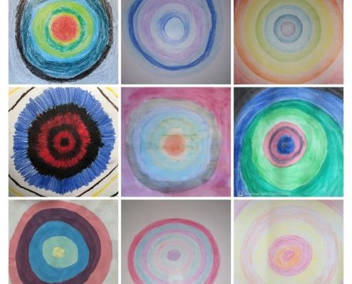 koláž - barevné kruhy