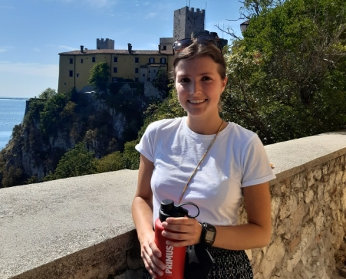 Já na slavném balkóně s výhledem na hrad